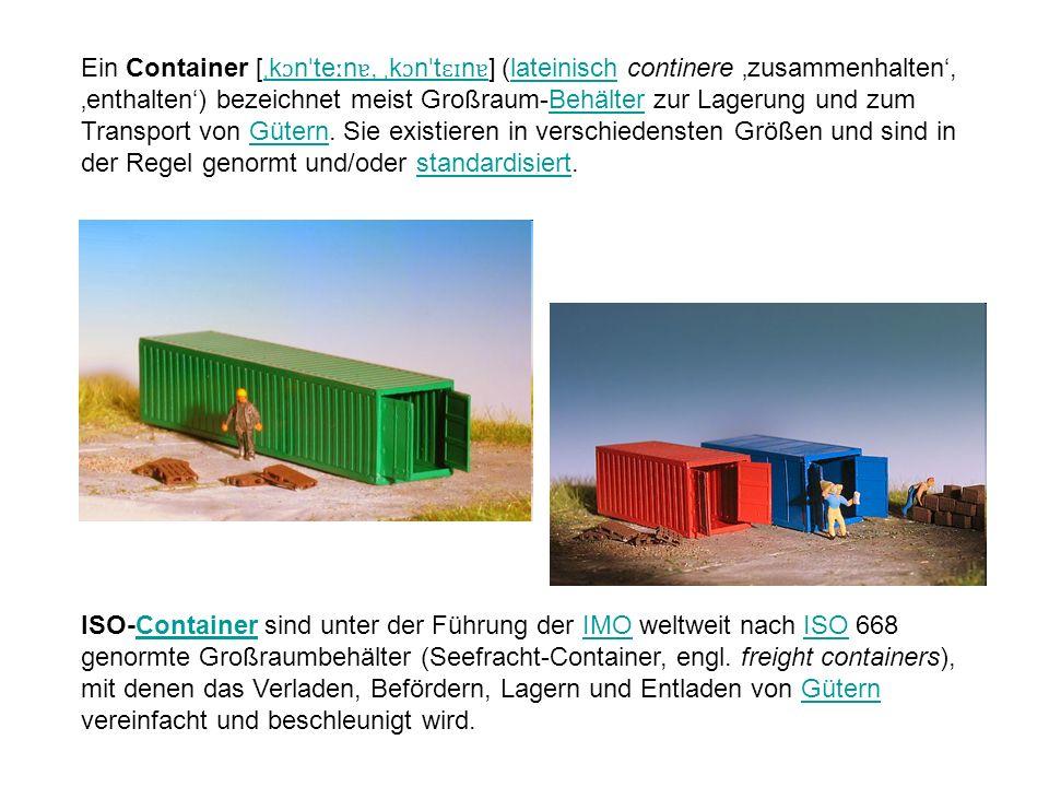 Ein Container [ˌkɔnˈteːnɐ, ˌkɔnˈtɛɪnɐ] (lateinisch continere 'zusammenhalten', 'enthalten') bezeichnet meist Großraum-Behälter zur Lagerung und zum Transport von Gütern. Sie existieren in verschiedensten Größen und sind in der Regel genormt und/oder standardisiert.